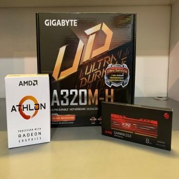 KIT PROCESADOR AMD ATHLON 3000G + PLACA MADRE GIGABYTE A320M-H + MEMORIA ADATA DDR4 XPG ADATA 8GB 2666