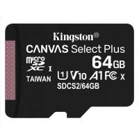 MEMORIA KINGSTON MICROSD 64GB CANVAS SELECT PLUS 100R A1 C10 Card + P/N SDCS2/64GBTG