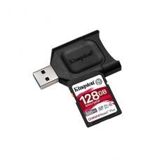 MEMORIA KINGSTON SD 128GB CANVAS RECT PLUS CLASE 10 UHS-II U3 300/260MB/S INCLUYE ADAPTADOR P/N MLPR2/128GB