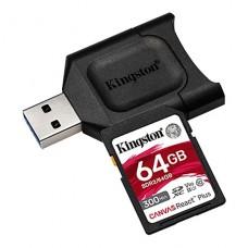 MEMORIA KINGSTON SD 64GB CANVAS RECT PLUS CLASE 10 UHS-II U3 300MB/S INCLUYE ADAPTADOR P/N MLPR2/128GB