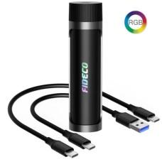 COFRE PARA DISCO M.2 NVME PCIE USB 3.2 SOLO CON CABLE USB-C Y LUZ RGB FIDECO 219CPS