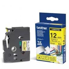 PAPEL Brother Adhesivo estándar negro sobre amarillo  rollo (1,2 cm x 8 m) 1 bobina(s) tipo laminado para P-Touch PT-1880, D200, D450, E110, E550, E800, H110, P300, P900; P-Touch Cube Plus PT-P710 P/N TZE-631