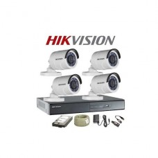 KIT DE SEGURIDAD Hikvision KIT DVR 4ch + 4 Bullet IP66 + 4 Rollos BNC 20mt + HDD 1TB P/N 301501023