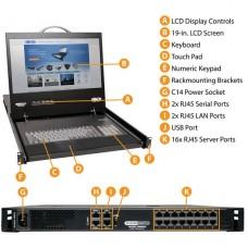 KVM Tripp Lite 16-Port IP Rack Console Cat5 KVM Switch 19