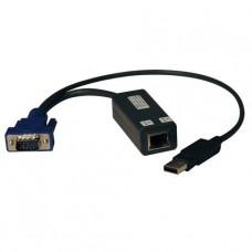 Tripp Lite USB Single Server Interface Unit Virtual Media KVM Switch HD15 USB RJ45 TAA - Alargador KVM - hasta 30 m - para P/N: B070-008-19-IP, B070-016-19-IP2, B072-008-1A, B072-008-1-IP, B072-016-1A