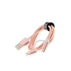 CABLE Klip Xtreme  USB Apple Lightning / Micro-USB Type B - 4 pin USB Type A - 1 m Rose gold 2in1 Braided P/N KAC-210RG