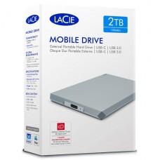 DISCO EXTERNO SEAGATE LaCie Mobile Drive 2TB USB 3.1 Gen 2 (USB-C conector)  luna de plata P/N STHG2000400
