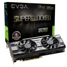 TARJETA DE VIDEO GEFORCE EVGA GTX1070 8GB BLACK EDITION SC ACX 3.0 PCIeX P/N 08G-P4-5173-KR