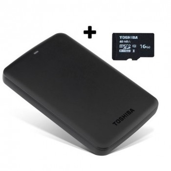 DISCO DURO EXTERNO 2TB TOSHIBA CANVIO USB 3.0 MAS MEMORIA 16GB MICROSD DE REGALO P/N HDTB320XK3CA + SDC16G2T2F