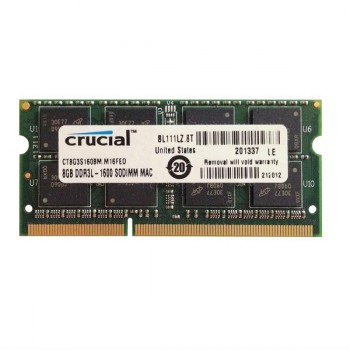 MEMORIA SODIMM DDR3 8GB 1600 PC12800 CRUCIAL 1.35V  CERTIFICADAS PARA MAC P/N CT8G3S160BM