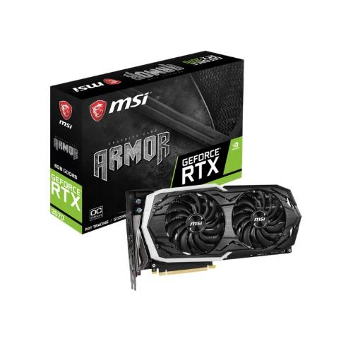 TARJETA DE VIDEO GEFORCE MSI RTX 2070 ARMOR 8G OC DDR5 PCIeX 3.0 P/N 912-V373-013