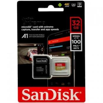 MEMORIA MICROSD 32GB SANDISK UHS-3 EXTREME 667X CLASE 10 P/N SDSQXAF-032G