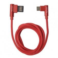 CABLE TECMASTER USB TIPO C 1 MTS RED TEXTIL REFORZADO 90° P/N TM-CB-TC90RD