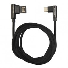 CABLE TECMASTER USB TIPO C 1 MTS BLACK TEXTIL REFORZADO 90° P/N TM-CB-TC90BK