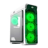 GABINETE GAMEMAX STARLIGHT WHITE GREEN 4 FAN VERDES SIN FUENTE ATX