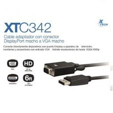 CABLE XTECH DISPLAY PORT A VGA DE 1.8M P/N XTC-342